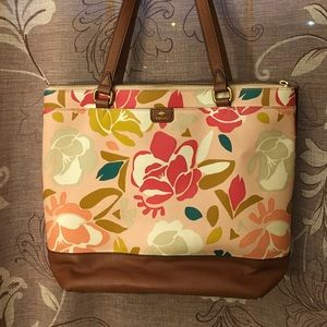 Fossil Mothers Day Tote. Peach with Pastel flowers